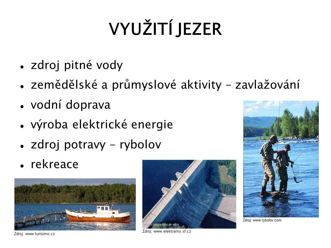 VYUŽITÍ JEZER zdroj pitné vody zemědělské a průmyslové aktivity – zavlažování vodní doprava výroba elektrické energie zdroj potravy – rybolov rekreace