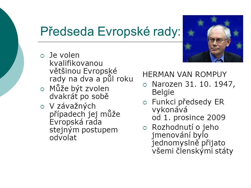 POZITIVA VZNIKU POZICE PŘEDSEDY EVROPSKÉ RADY:  Funkce předsedy ER existuje neoficiálně již od roku 1975  Funkce volená na 30 měsíců (předtím bylo funkční období předsedy jen 6 měsíců)  Je jasně dané, kdo má navenek EU zastupovat a reprezentovat