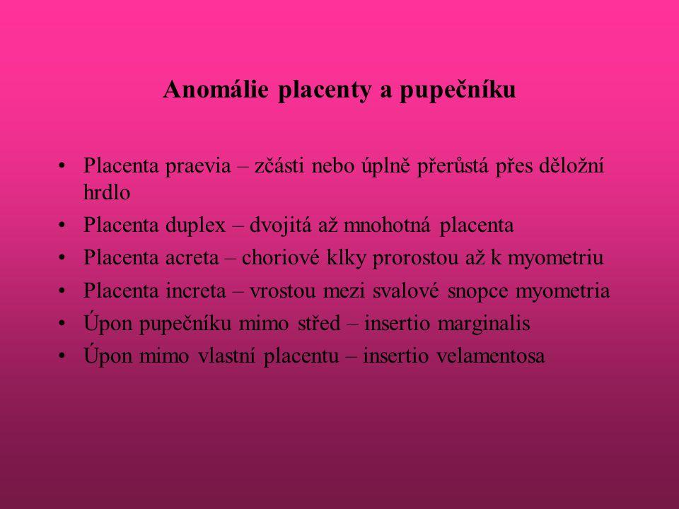 Anomálie placenty a pupečníku Placenta praevia – zčásti nebo úplně přerůstá přes děložní hrdlo Placenta duplex – dvojitá až mnohotná placenta Placenta