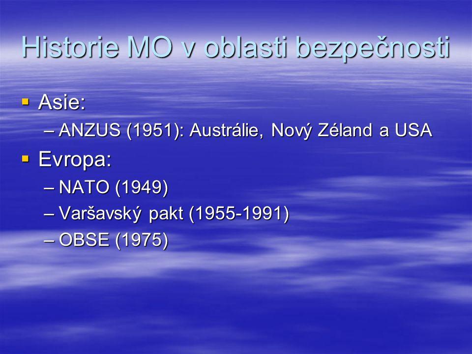 Historie MO v oblasti bezpečnosti  Asie: –ANZUS (1951): Austrálie, Nový Zéland a USA  Evropa: –NATO (1949) –Varšavský pakt (1955-1991) –OBSE (1975)