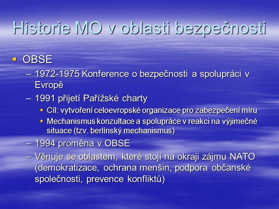Historie MO v oblasti bezpečnosti  OBSE –1972-1975 Konference o bezpečnosti a spolupráci v Evropě –1991 přijetí Pařížské charty  Cíl: vytvoření celo