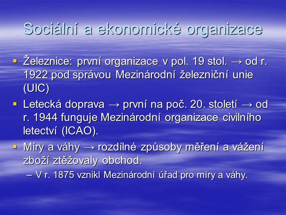 Sociální a ekonomické organizace  Železnice: první organizace v pol. 19 stol. → od r. 1922 pod správou Mezinárodní železniční unie (UIC)  Letecká do