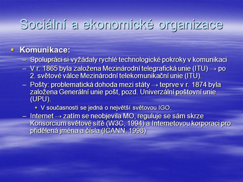 Sociální a ekonomické organizace  Komunikace: –Spolupráci si vyžádaly rychlé technologické pokroky v komunikaci –V r. 1865 byla založena Mezinárodní