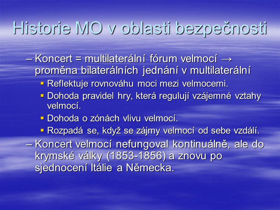 Historie MO v oblasti bezpečnosti  Haagské mírové konference v r.