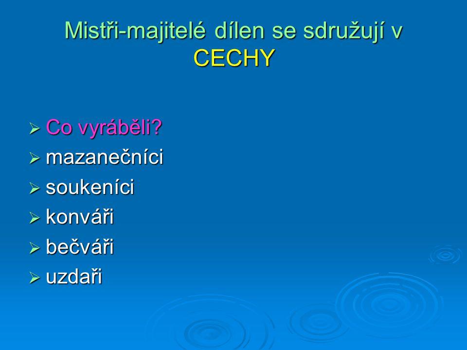 Mistři-majitelé dílen se sdružují v CECHY  Co vyráběli.