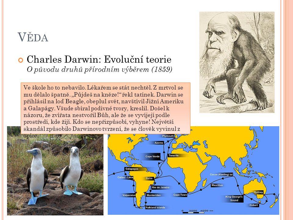 V ĚDA Charles Darwin: Evoluční teorie O původu druhů přírodním výběrem (1859) Ve škole ho to nebavilo. Lékařem se stát nechtěl. Z mrtvol se mu dělalo