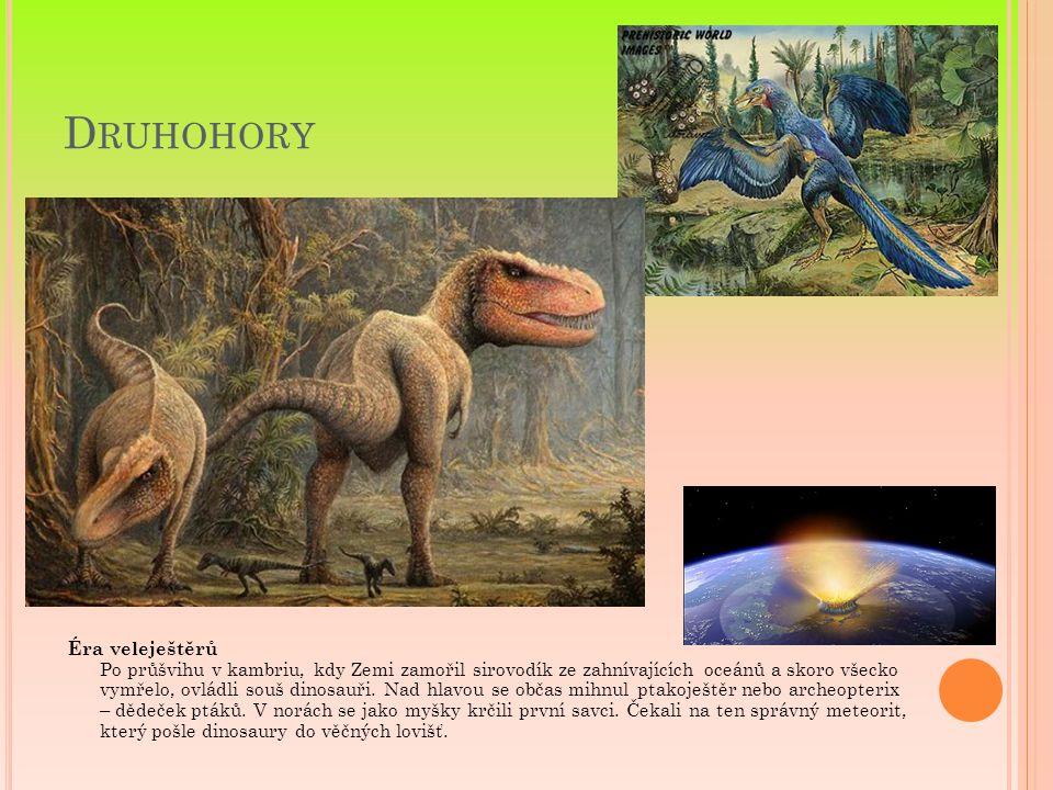 D RUHOHORY Éra veleještěrů Po průšvihu v kambriu, kdy Zemi zamořil sirovodík ze zahnívajících oceánů a skoro všecko vymřelo, ovládli souš dinosauři. N