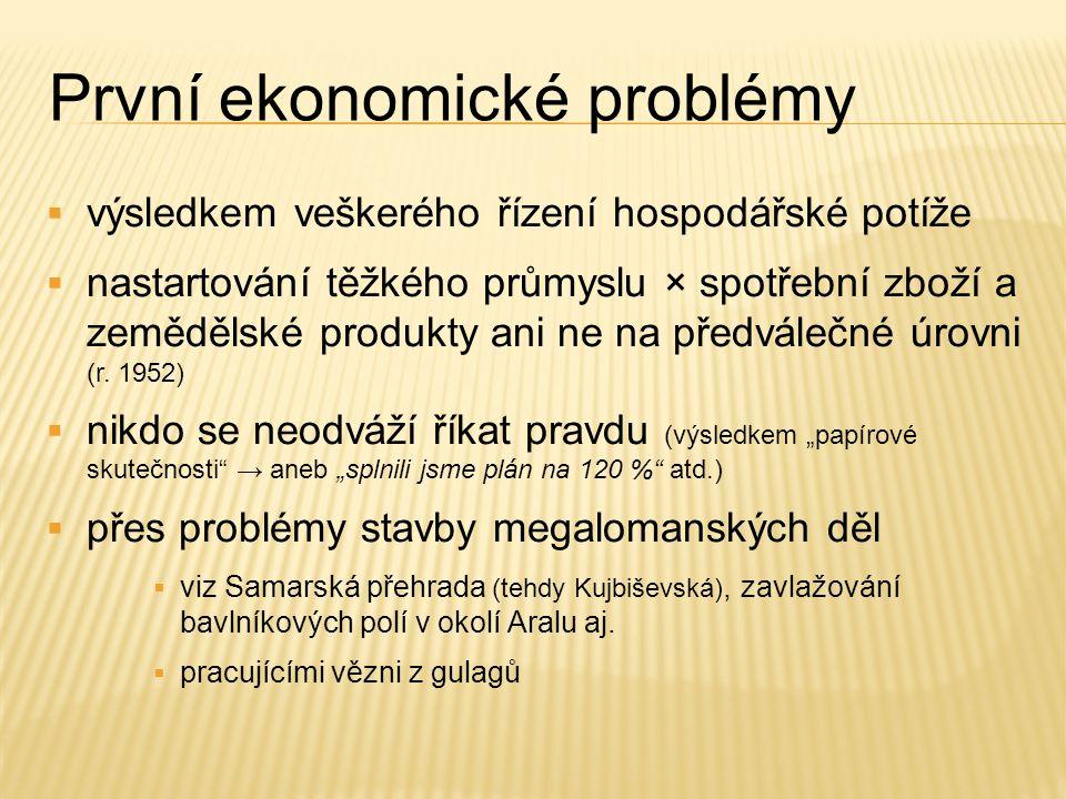 První ekonomické problémy  výsledkem veškerého řízení hospodářské potíže  nastartování těžkého průmyslu × spotřební zboží a zemědělské produkty ani