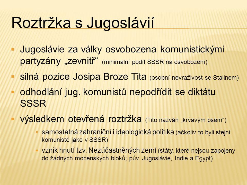 """Roztržka s Jugoslávií  Jugoslávie za války osvobozena komunistickými partyzány """"zevnitř"""" (minimální podíl SSSR na osvobození)  silná pozice Josipa B"""