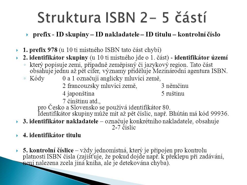  prefix - ID skupiny – ID nakladatele – ID titulu – kontrolní číslo  1. prefix 978 (u 10 ti místného ISBN tato část chybí)  2. identifikátor skupin