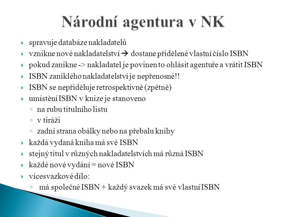  spravuje databáze nakladatelů  vznikne nové nakladatelství  dostane přidělené vlastní číslo ISBN  pokud zanikne -> nakladatel je povinen to ohlás