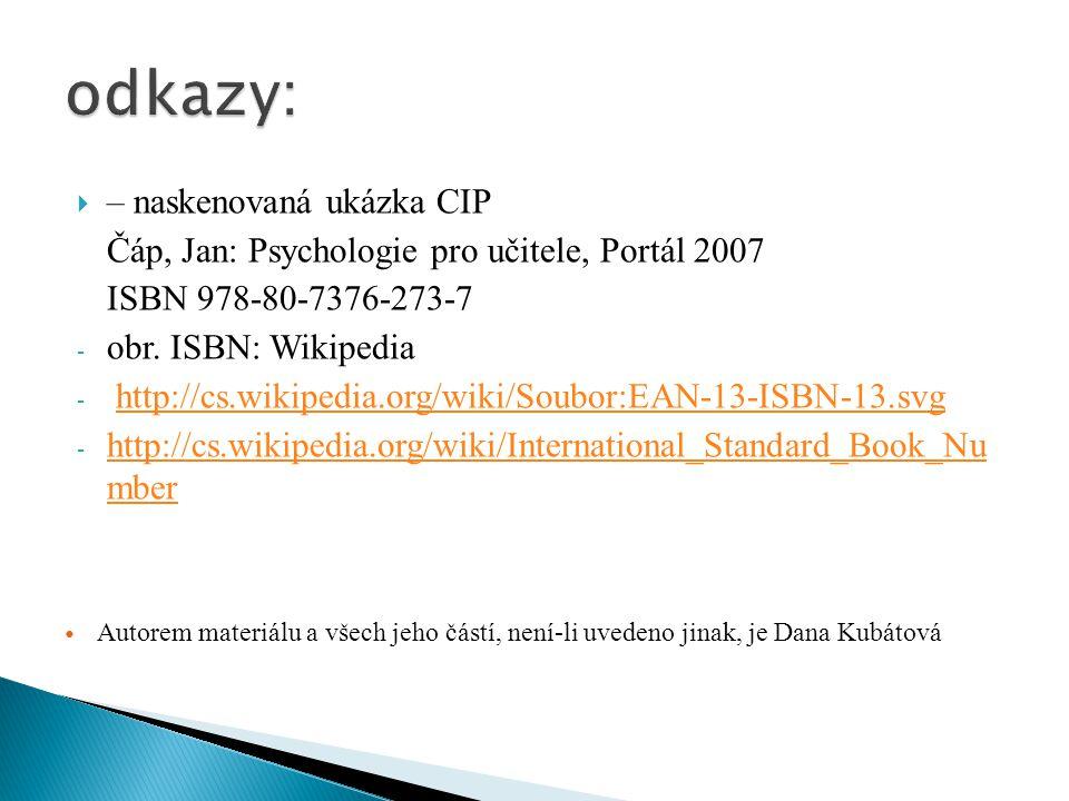  – naskenovaná ukázka CIP Čáp, Jan: Psychologie pro učitele, Portál 2007 ISBN 978-80-7376-273-7 - obr. ISBN: Wikipedia - http://cs.wikipedia.org/wiki
