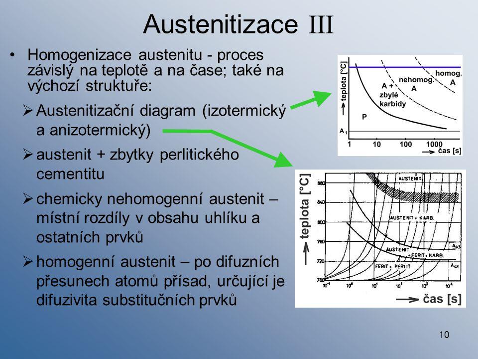 10 Austenitizace III Homogenizace austenitu - proces závislý na teplotě a na čase; také na výchozí struktuře:  Austenitizační diagram (izotermický a
