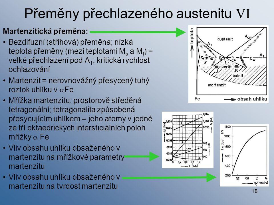 18 Přeměny přechlazeného austenitu VI Martenzitická přeměna: Bezdifuzní (střihová) přeměna; nízká teplota přeměny (mezi teplotami M s a M f ) = velké
