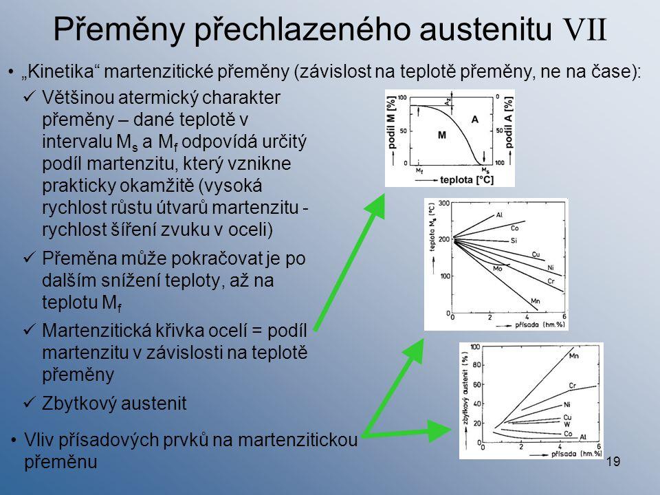 19 Přeměny přechlazeného austenitu VII Většinou atermický charakter přeměny – dané teplotě v intervalu M s a M f odpovídá určitý podíl martenzitu, kte