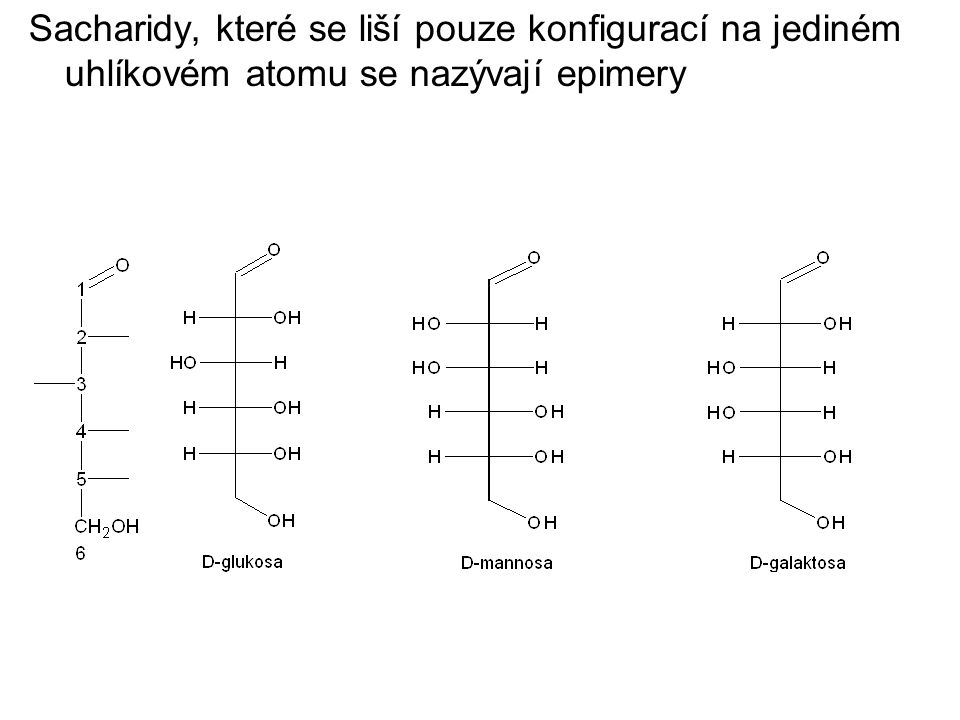 Sacharidy, které se liší pouze konfigurací na jediném uhlíkovém atomu se nazývají epimery