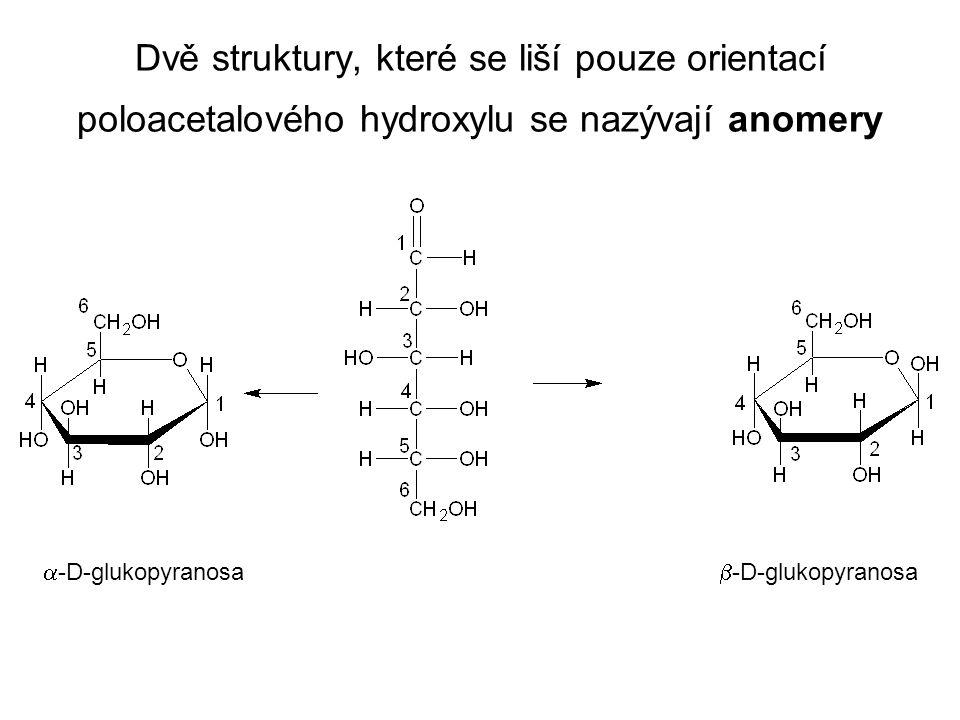Dvě struktury, které se liší pouze orientací poloacetalového hydroxylu se nazývají anomery  -D-glukopyranosa  -D-glukopyranosa