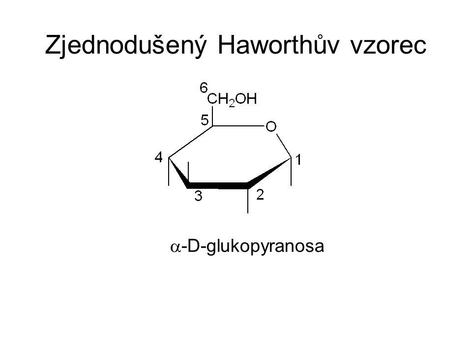 Zjednodušený Haworthův vzorec  -D-glukopyranosa