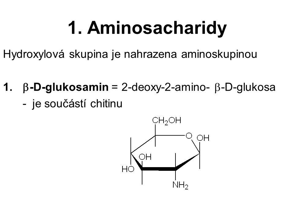 1. Aminosacharidy Hydroxylová skupina je nahrazena aminoskupinou 1.  -D-glukosamin = 2-deoxy-2-amino-  -D-glukosa -je součástí chitinu