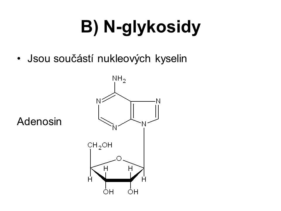 B) N-glykosidy Jsou součástí nukleových kyselin Adenosin