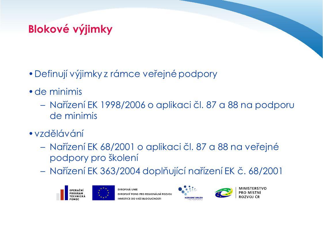 Blokové výjimky Definují výjimky z rámce veřejné podpory de minimis –Nařízení EK 1998/2006 o aplikaci čl.