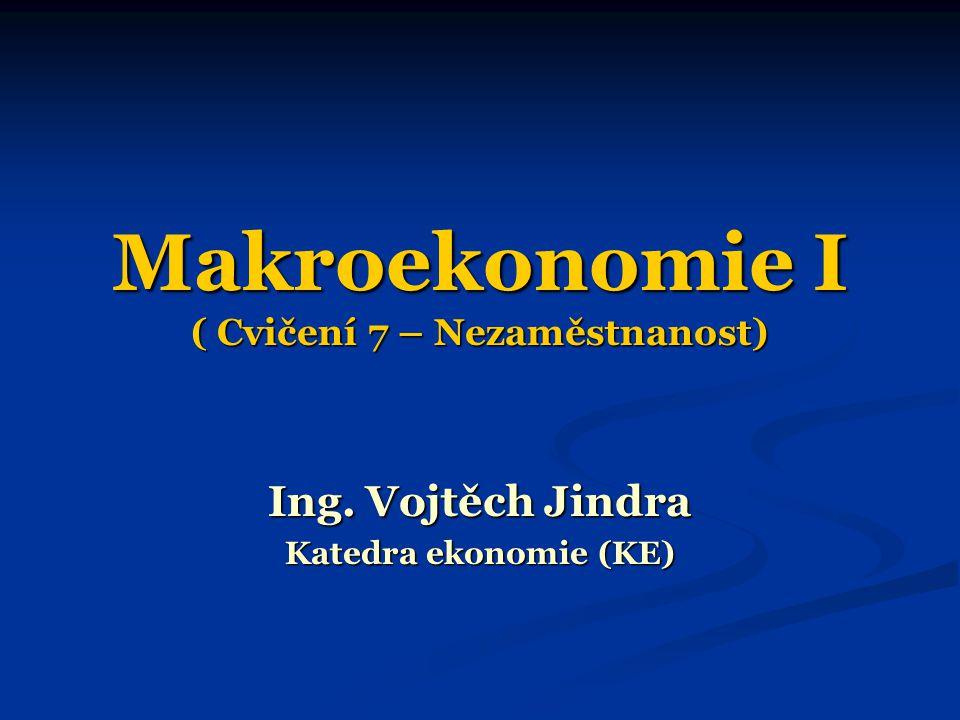 Makroekonomie I ( Cvičení 7 – Nezaměstnanost) Ing. Vojtěch Jindra Katedra ekonomie (KE)