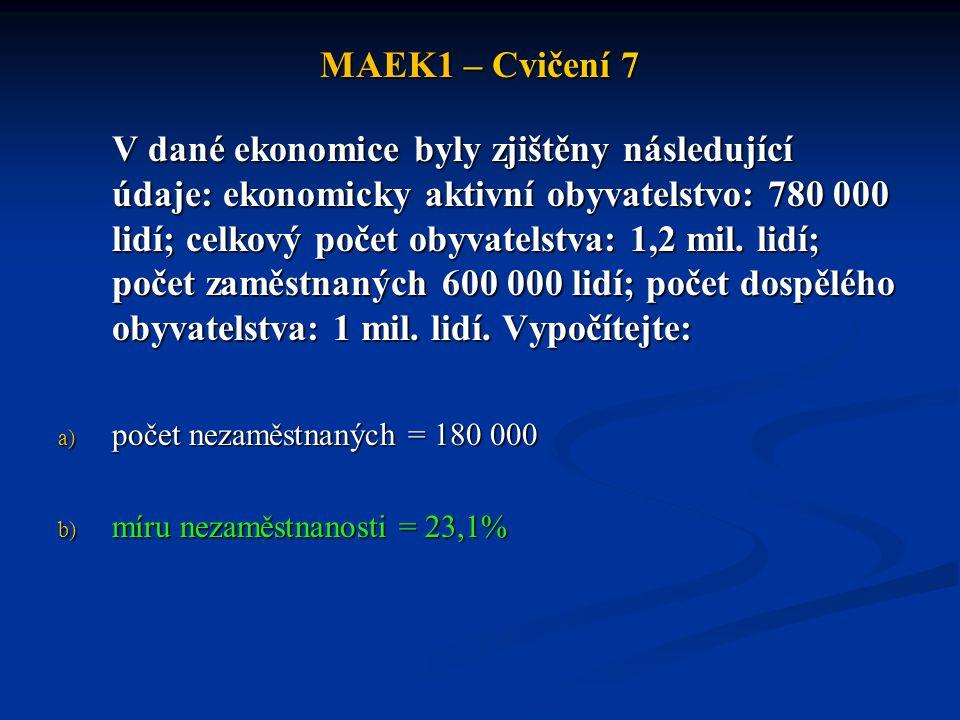 MAEK1 – Cvičení 7 V dané ekonomice byly zjištěny následující údaje: ekonomicky aktivní obyvatelstvo: 780 000 lidí; celkový počet obyvatelstva: 1,2 mil