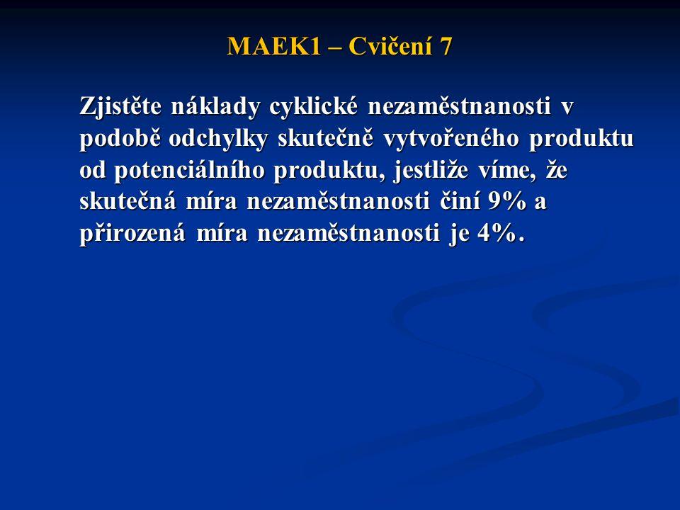 MAEK1 – Cvičení 7 Zjistěte náklady cyklické nezaměstnanosti v podobě odchylky skutečně vytvořeného produktu od potenciálního produktu, jestliže víme,