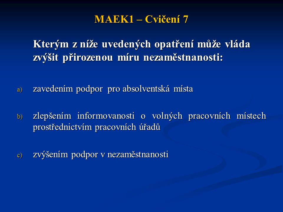 MAEK1 – Cvičení 7 Kterým z níže uvedených opatření může vláda zvýšit přirozenou míru nezaměstnanosti: a) zavedením podpor pro absolventská místa b) zl