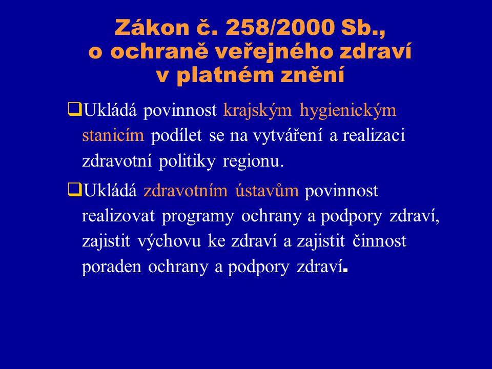Zákon č. 258/2000 Sb., o ochraně veřejného zdraví v platném znění  Ukládá povinnost krajským hygienickým stanicím podílet se na vytváření a realizaci