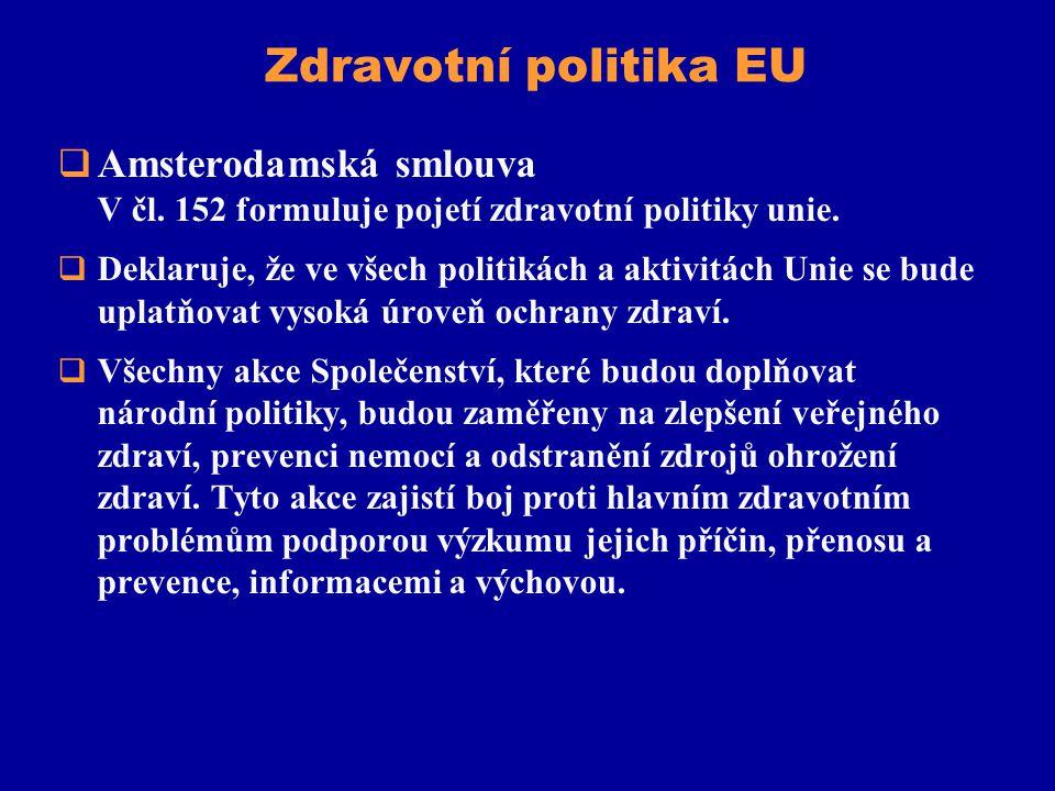 Zdravotní politika EU  Amsterodamská smlouva V čl. 152 formuluje pojetí zdravotní politiky unie.  Deklaruje, že ve všech politikách a aktivitách Uni