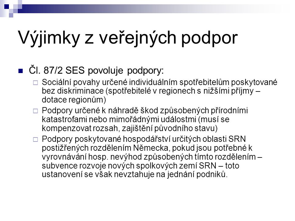 Fakultativní výjimky Čl.