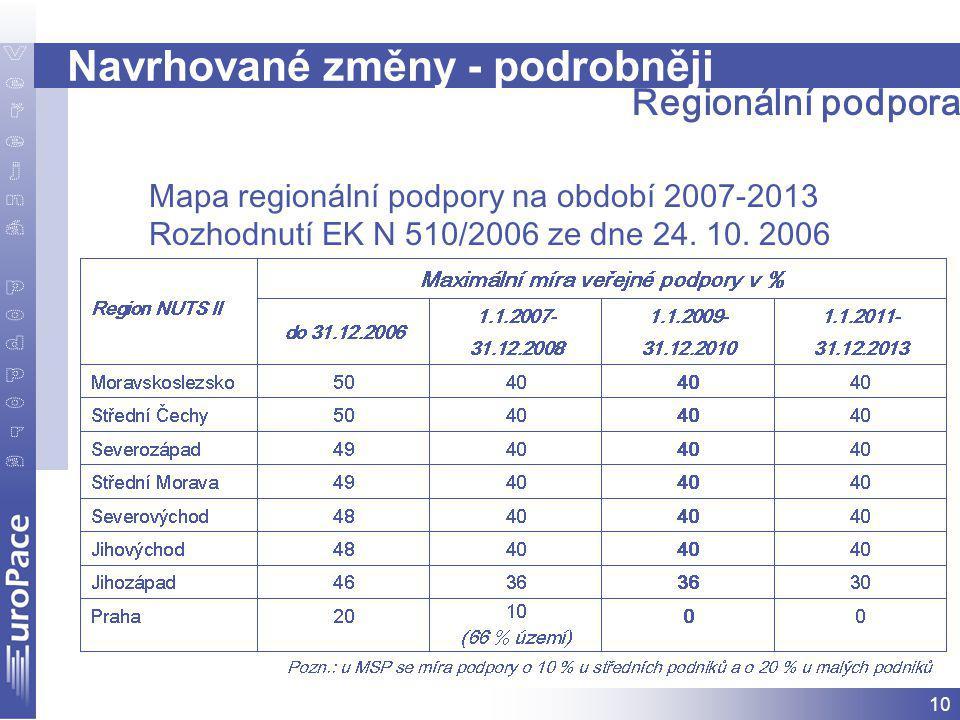 10 Navrhované změny - podrobněji Mapa regionální podpory na období 2007-2013 Rozhodnutí EK N 510/2006 ze dne 24.