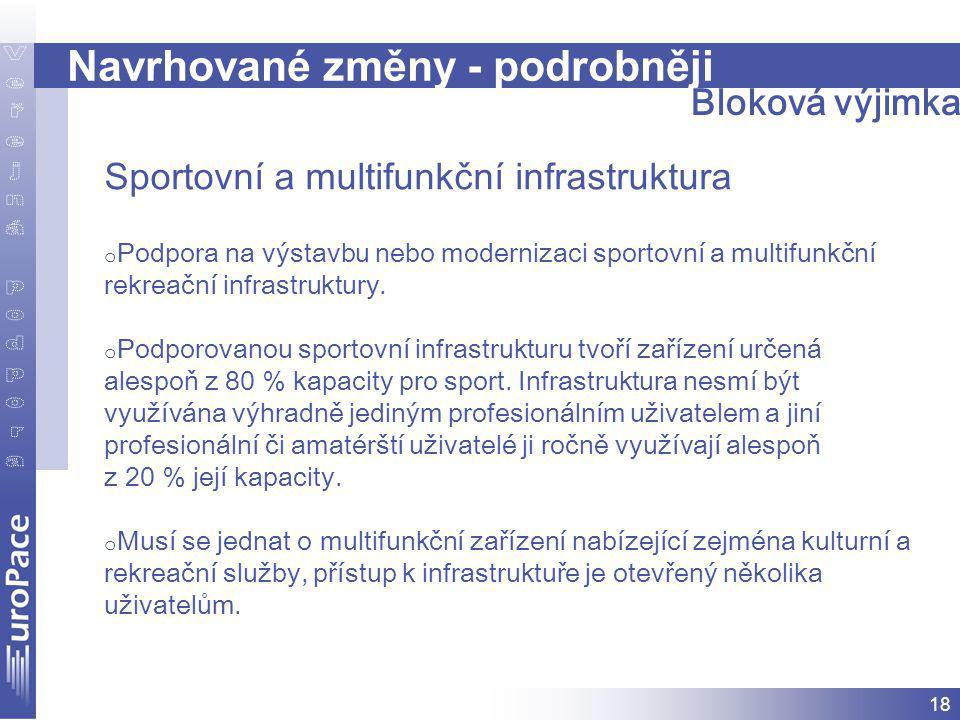 18 Navrhované změny - podrobněji Sportovní a multifunkční infrastruktura o Podpora na výstavbu nebo modernizaci sportovní a multifunkční rekreační infrastruktury.