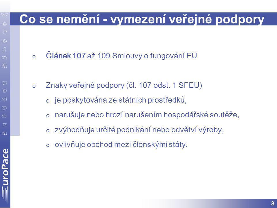 3 Co se nemění - vymezení veřejné podpory o Článek 107 až 109 Smlouvy o fungování EU o Znaky veřejné podpory (čl.