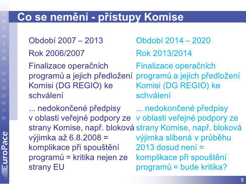 5 Co se nemění - přístupy Komise Období 2007 – 2013 Rok 2006/2007 Finalizace operačních programů a jejich předložení Komisi (DG REGIO) ke schválení...