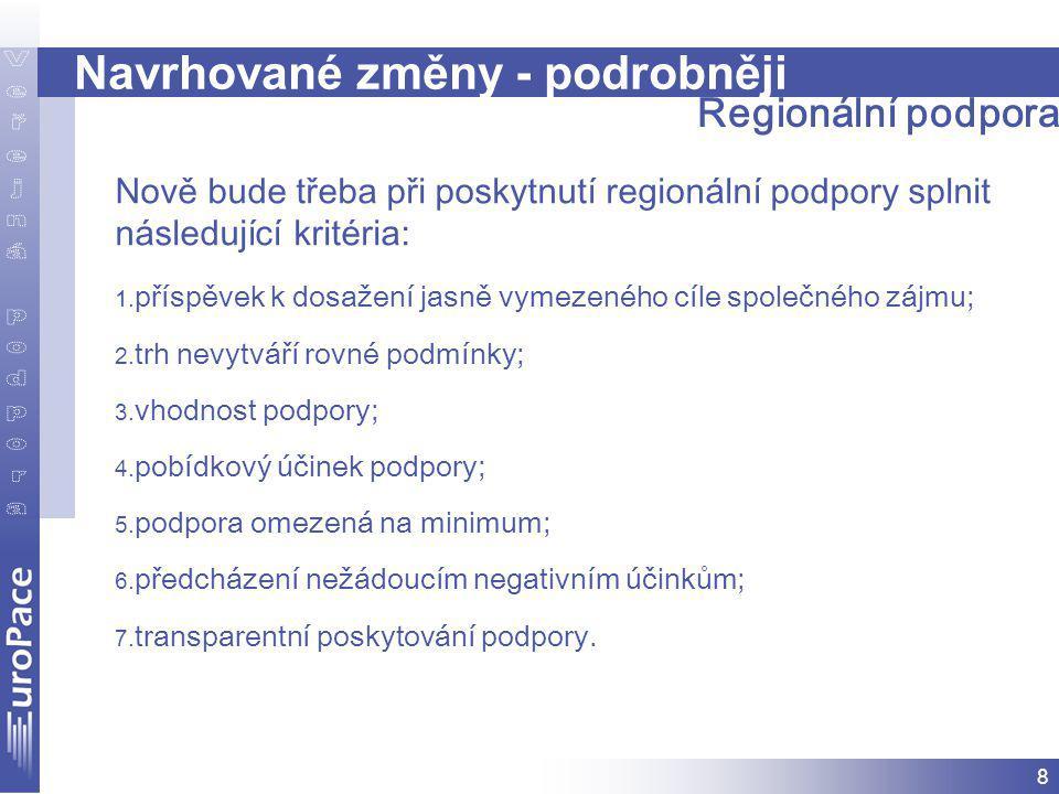 8 Navrhované změny - podrobněji Regionální podpora Nově bude třeba při poskytnutí regionální podpory splnit následující kritéria: 1.