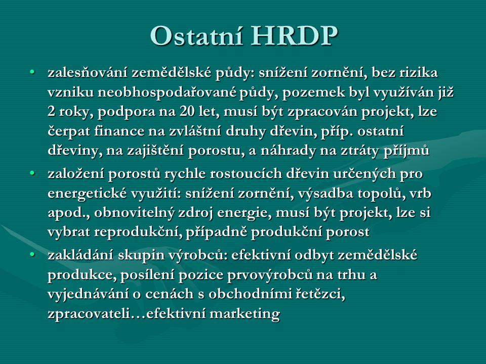 Ostatní HRDP zalesňování zemědělské půdy: snížení zornění, bez rizika vzniku neobhospodařované půdy, pozemek byl využíván již 2 roky, podpora na 20 le