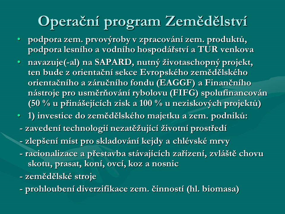 Operační program Zemědělství podpora zem. prvovýroby v zpracování zem. produktů, podpora lesního a vodního hospodářství a TUR venkovapodpora zem. prvo