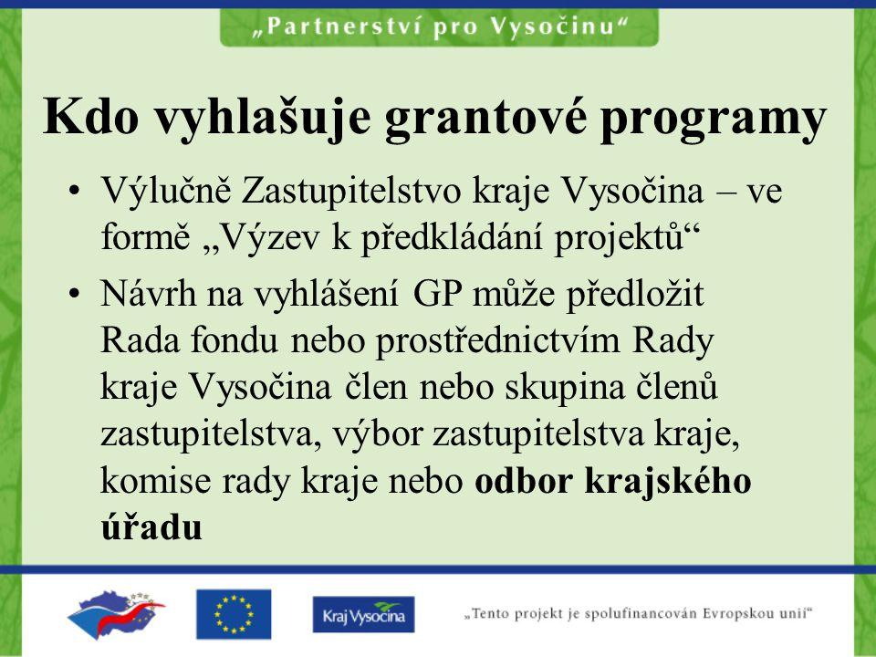 """Kdo vyhlašuje grantové programy Výlučně Zastupitelstvo kraje Vysočina – ve formě """"Výzev k předkládání projektů"""" Návrh na vyhlášení GP může předložit R"""