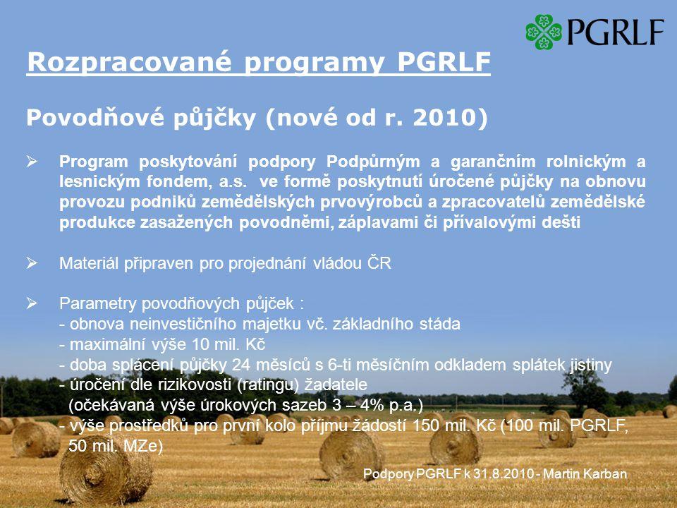 Rozpracované programy PGRLF Povodňové půjčky (nové od r.