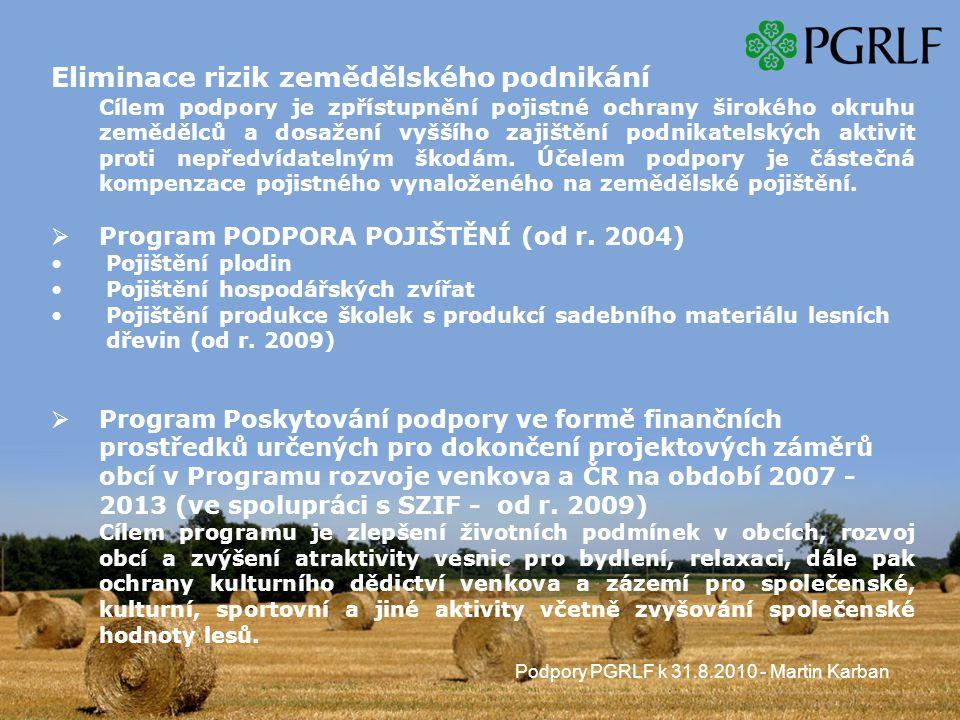 Podpory PGRLF k 31.8.2010 - Martin Karban Eliminace rizik zemědělského podnikání Cílem podpory je zpřístupnění pojistné ochrany širokého okruhu zemědělců a dosažení vyššího zajištění podnikatelských aktivit proti nepředvídatelným škodám.