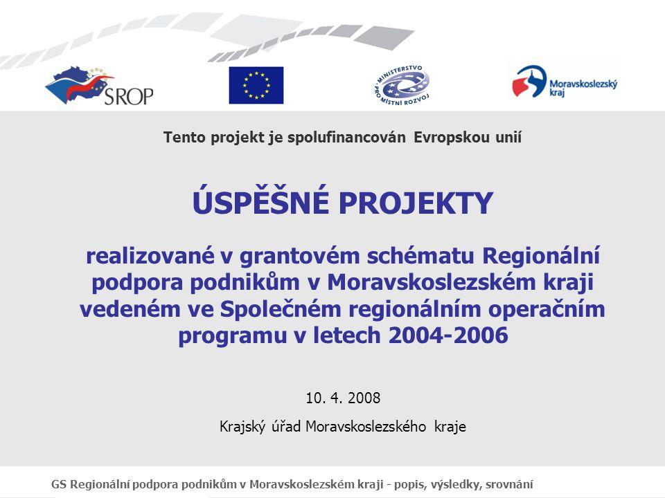 GS Regionální podpora podnikům v Moravskoslezském kraji - popis, výsledky, srovnání Tento projekt je spolufinancován Evropskou unií ÚSPĚŠNÉ PROJEKTY realizované v grantovém schématu Regionální podpora podnikům v Moravskoslezském kraji vedeném ve Společném regionálním operačním programu v letech 2004-2006 10.