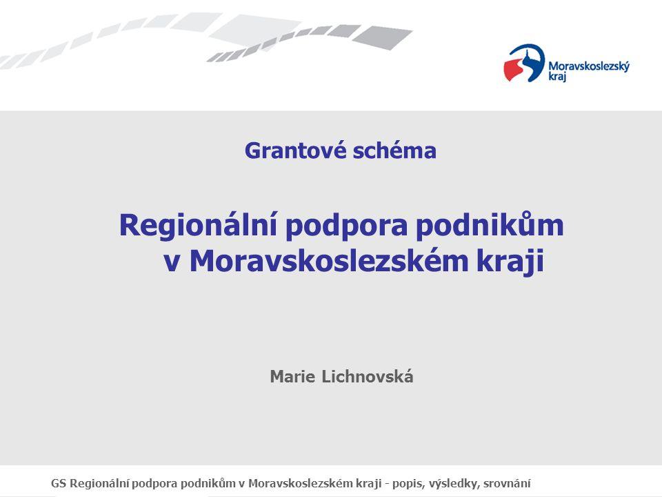 GS Regionální podpora podnikům v Moravskoslezském kraji - popis, výsledky, srovnání Grantové schéma Regionální podpora podnikům v Moravskoslezském kraji Marie Lichnovská