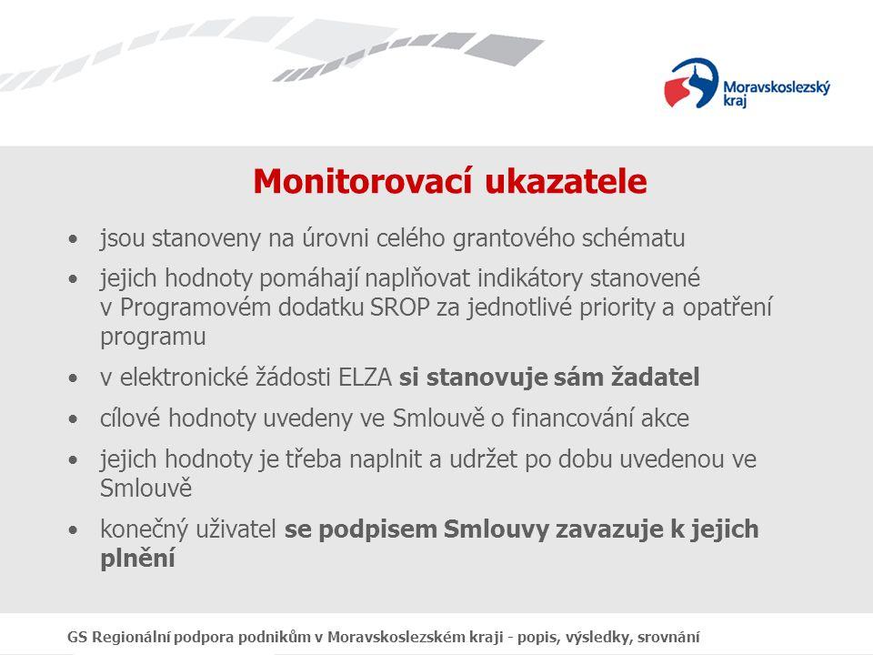 GS Regionální podpora podnikům v Moravskoslezském kraji - popis, výsledky, srovnání Monitorovací ukazatele jsou stanoveny na úrovni celého grantového schématu jejich hodnoty pomáhají naplňovat indikátory stanovené v Programovém dodatku SROP za jednotlivé priority a opatření programu v elektronické žádosti ELZA si stanovuje sám žadatel cílové hodnoty uvedeny ve Smlouvě o financování akce jejich hodnoty je třeba naplnit a udržet po dobu uvedenou ve Smlouvě konečný uživatel se podpisem Smlouvy zavazuje k jejich plnění