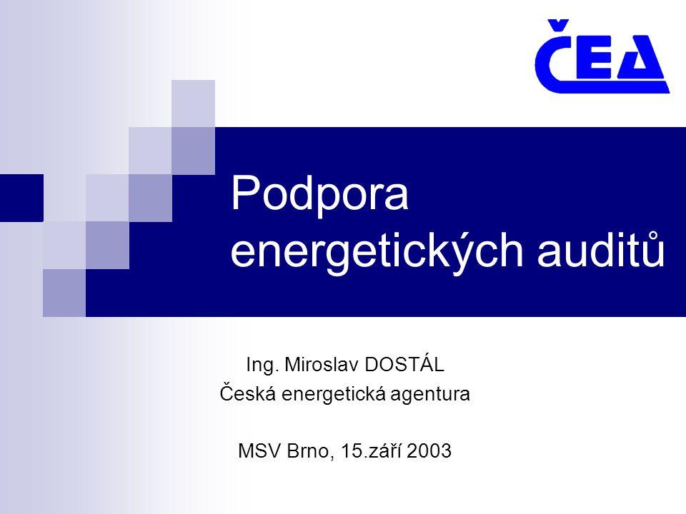 Podpora energetických auditů Ing. Miroslav DOSTÁL Česká energetická agentura MSV Brno, 15.září 2003
