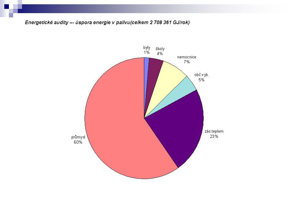 Energetické audity –- úspora energie v palivu(celkem 2 708 361 GJ/rok)