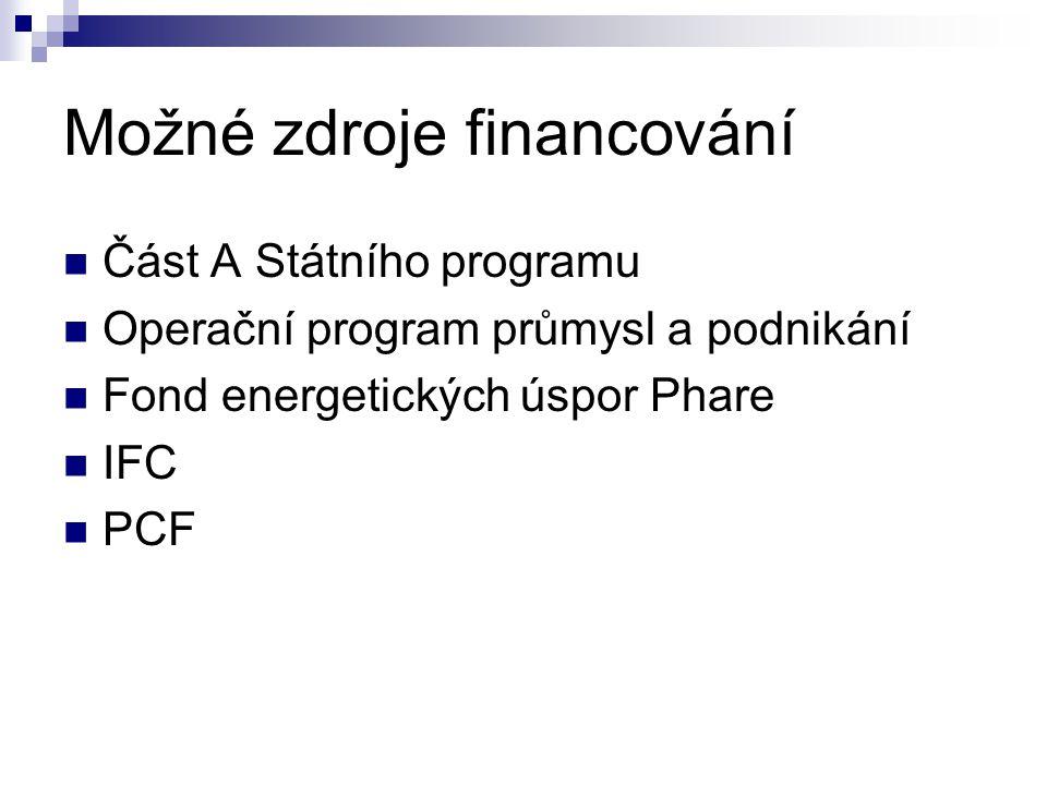 Možné zdroje financování Část A Státního programu Operační program průmysl a podnikání Fond energetických úspor Phare IFC PCF