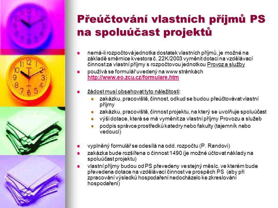 Přeúčtování vlastních příjmů PS na spoluúčast projektů nemá-li rozpočtová jednotka dostatek vlastních příjmů, je možné na základě směrnice kvestora č.