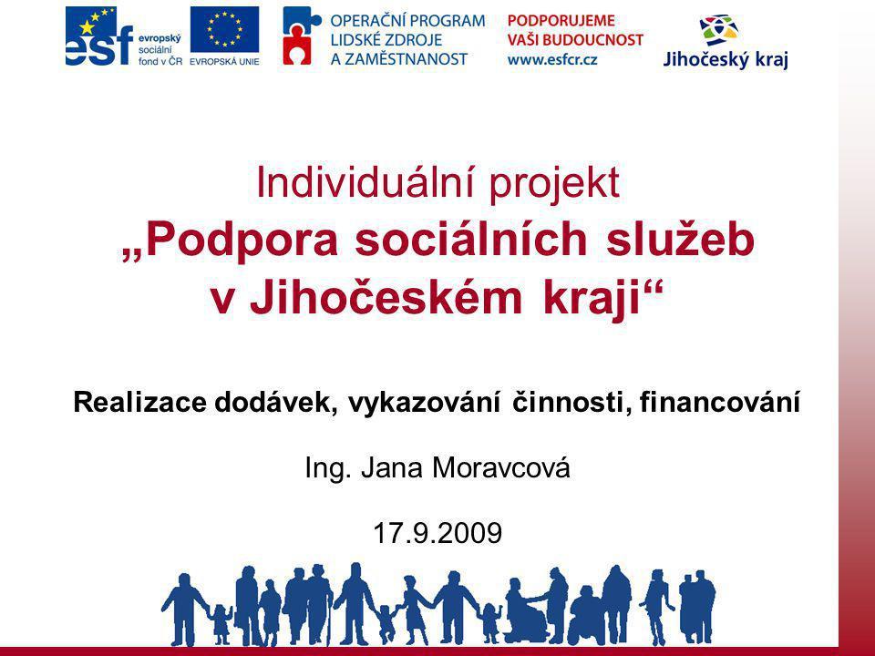 """Individuální projekt """"Podpora sociálních služeb v Jihočeském kraji Realizace dodávek, vykazování činnosti, financování Ing."""
